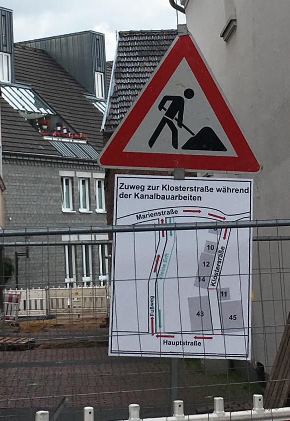 Kanalbauarbeiten in der Klosterstraße, Bergheim